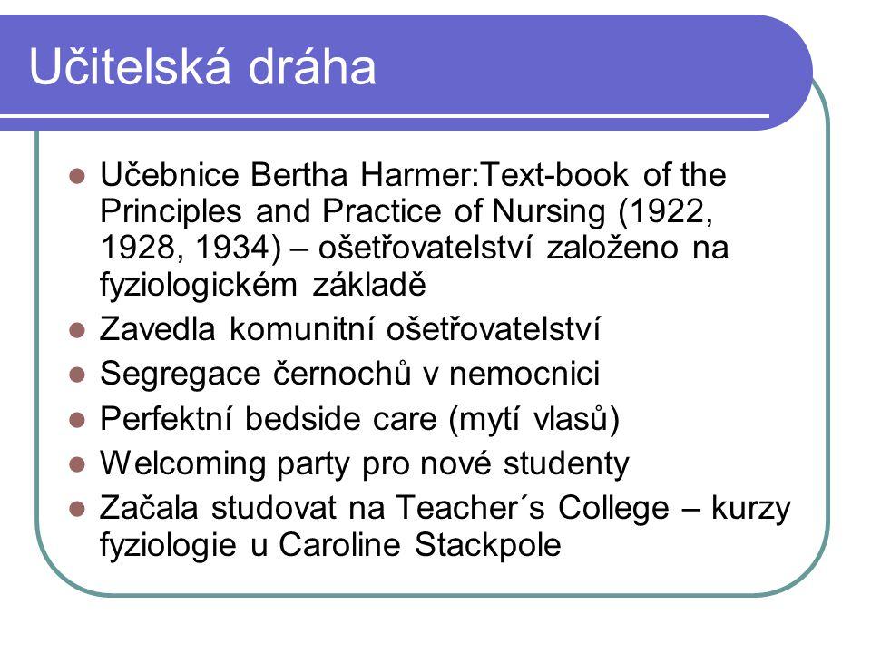 Učitelská dráha Učebnice Bertha Harmer:Text-book of the Principles and Practice of Nursing (1922, 1928, 1934) – ošetřovatelství založeno na fyziologic