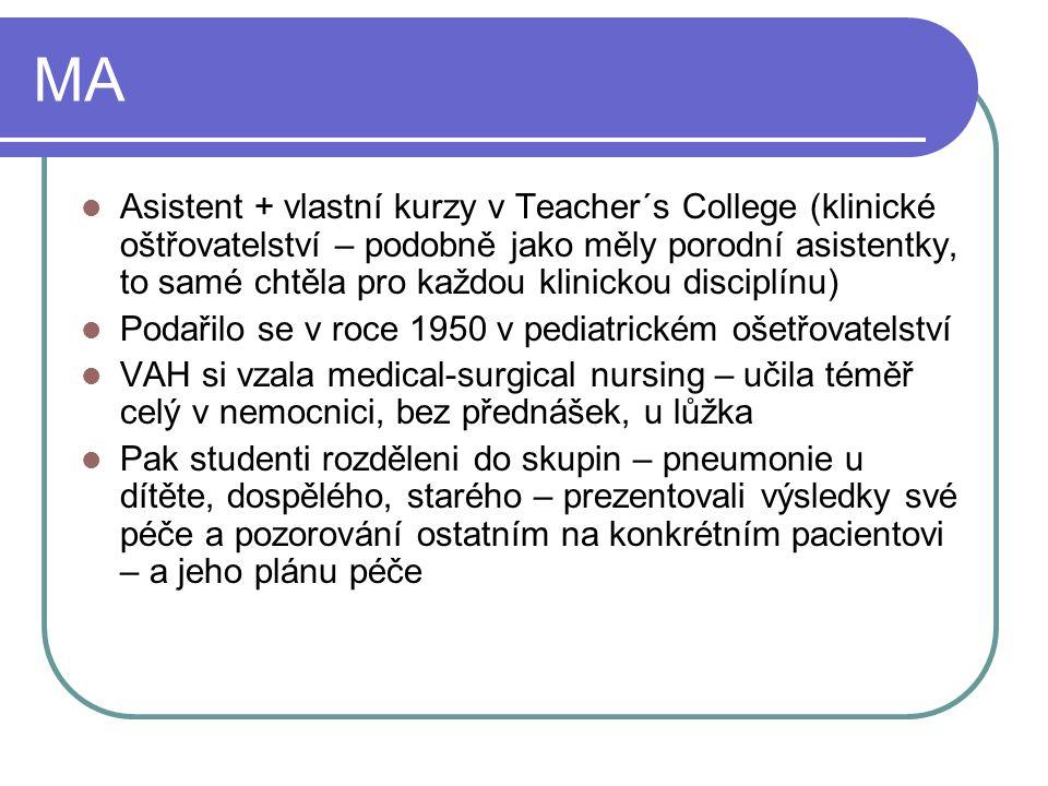 MA Asistent + vlastní kurzy v Teacher´s College (klinické oštřovatelství – podobně jako měly porodní asistentky, to samé chtěla pro každou klinickou d