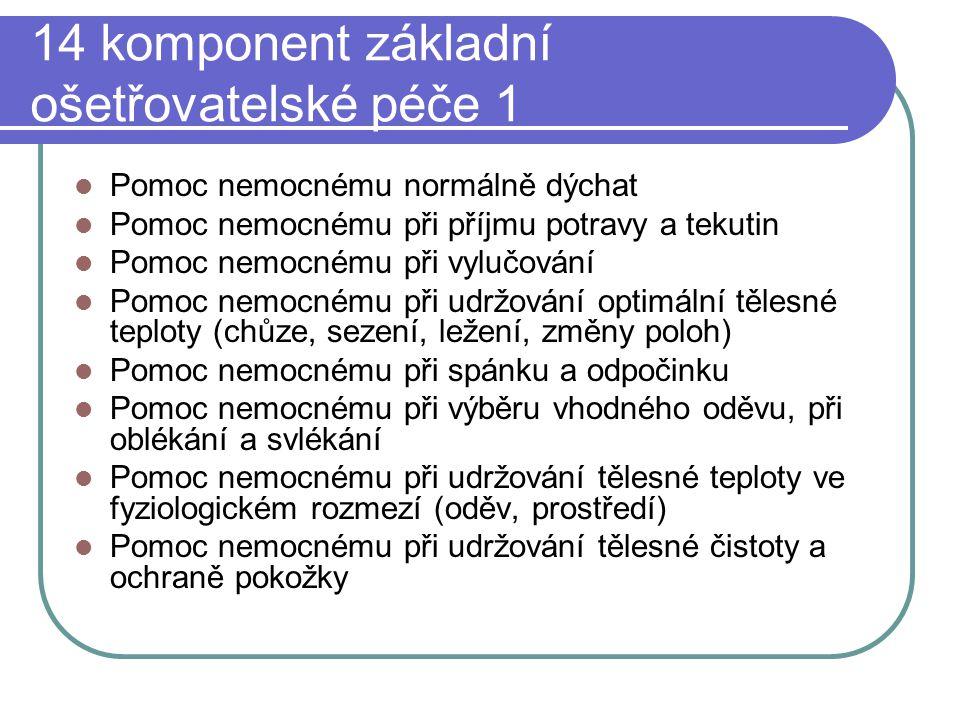 14 komponent základní ošetřovatelské péče 1 Pomoc nemocnému normálně dýchat Pomoc nemocnému při příjmu potravy a tekutin Pomoc nemocnému při vylučován