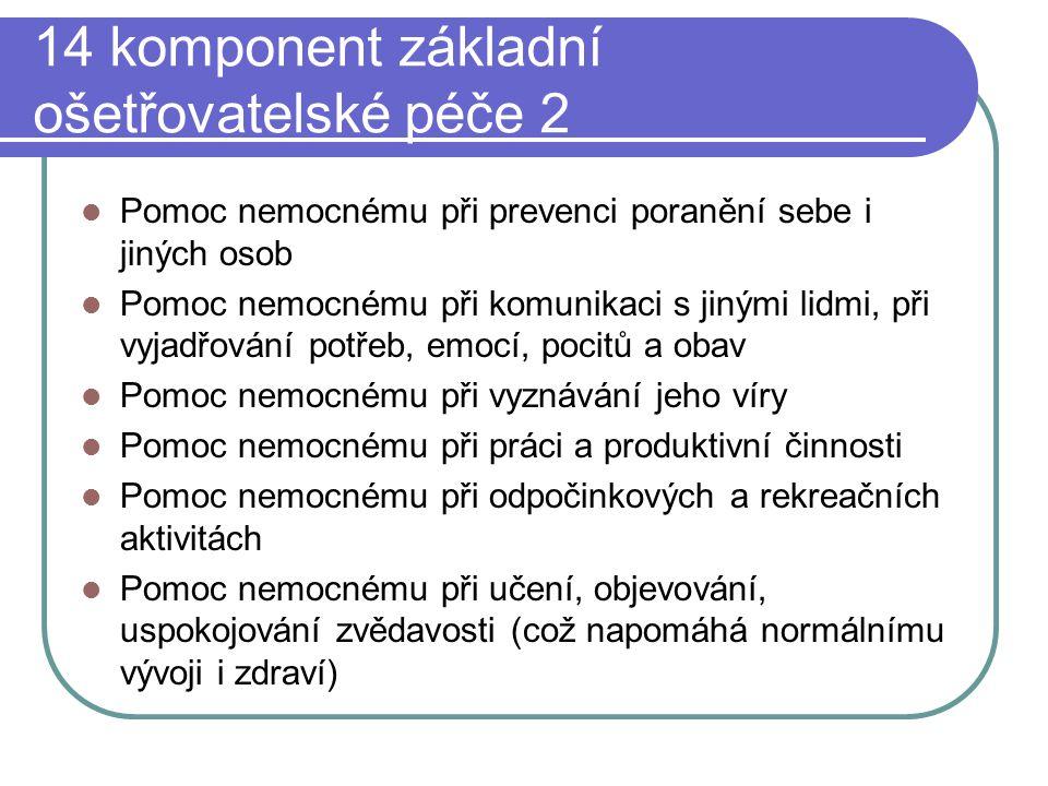 14 komponent základní ošetřovatelské péče 2 Pomoc nemocnému při prevenci poranění sebe i jiných osob Pomoc nemocnému při komunikaci s jinými lidmi, př