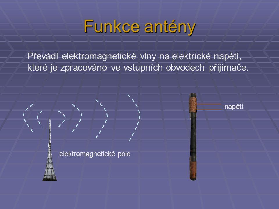 Funkce antény Převádí elektromagnetické vlny na elektrické napětí, které je zpracováno ve vstupních obvodech přijímače.
