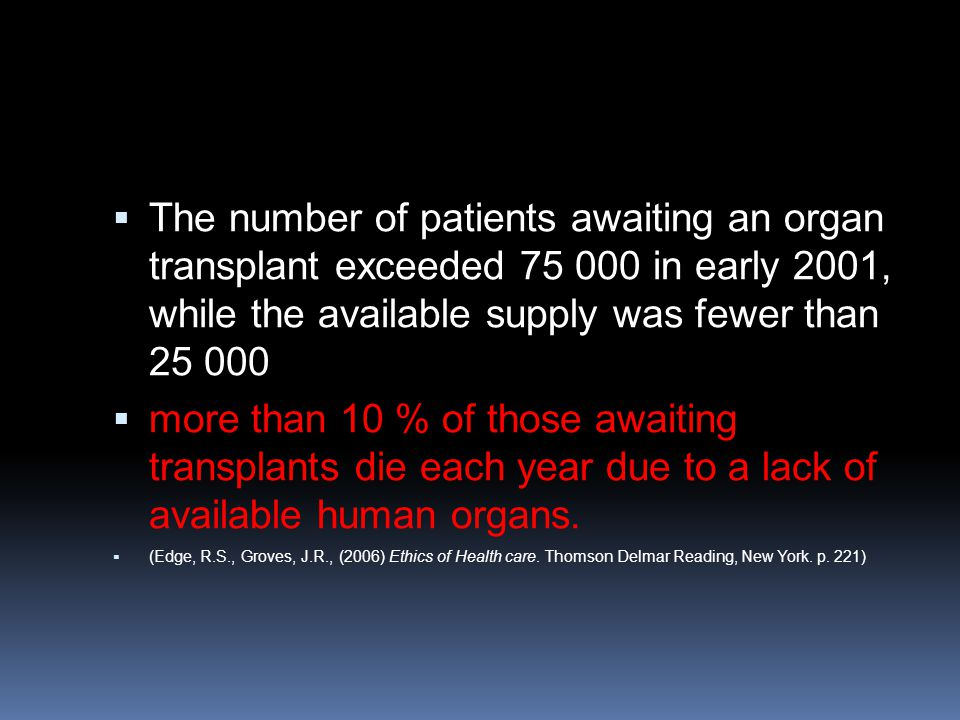  The number of patients awaiting an organ transplant exceeded 75 000 in early 2001, while the available supply was fewer than 25 000  more than 10 %