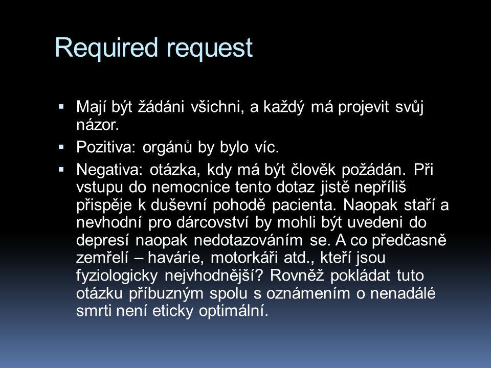 Required request  Mají být žádáni všichni, a každý má projevit svůj názor.  Pozitiva: orgánů by bylo víc.  Negativa: otázka, kdy má být člověk požá