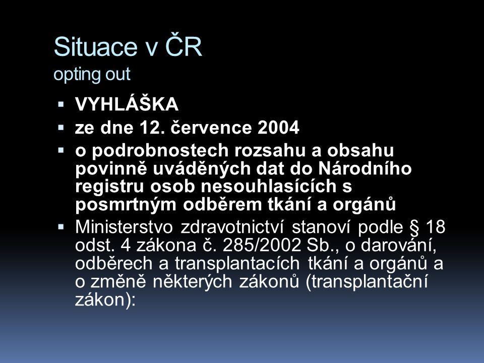 Situace v ČR opting out  VYHLÁŠKA  ze dne 12. července 2004  o podrobnostech rozsahu a obsahu povinně uváděných dat do Národního registru osob neso