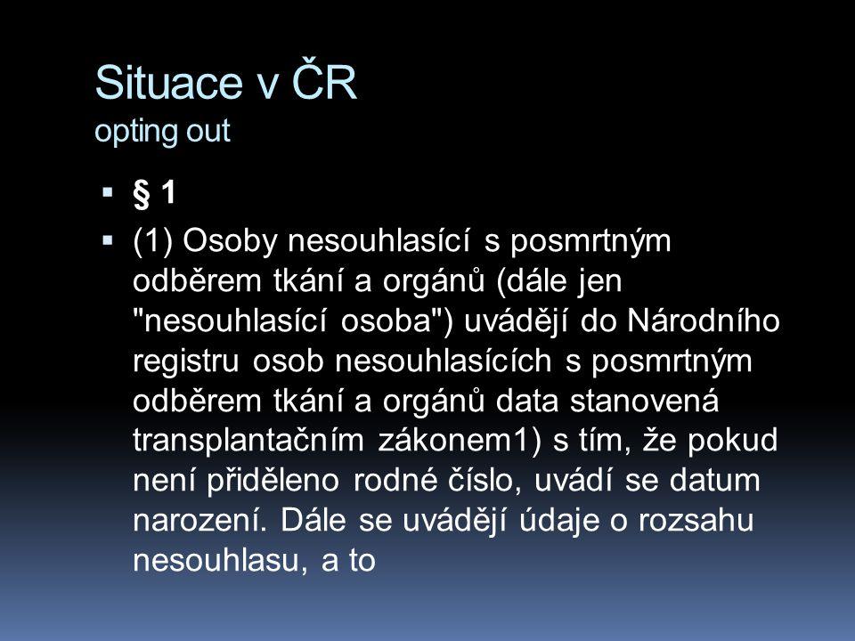 Situace v ČR opting out  § 1  (1) Osoby nesouhlasící s posmrtným odběrem tkání a orgánů (dále jen