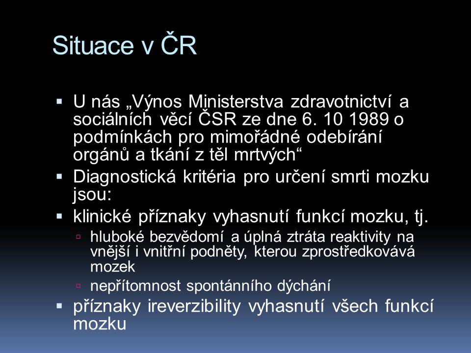 """Situace v ČR  U nás """"Výnos Ministerstva zdravotnictví a sociálních věcí ČSR ze dne 6. 10 1989 o podmínkách pro mimořádné odebírání orgánů a tkání z t"""