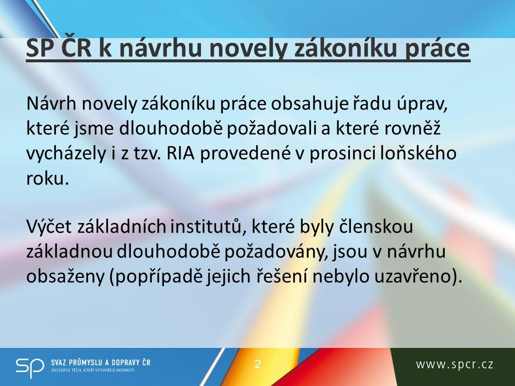 SP ČR k návrhu novely zákoníku práce Návrh novely zákoníku práce obsahuje řadu úprav, které jsme dlouhodobě požadovali a které rovněž vycházely i z tzv.