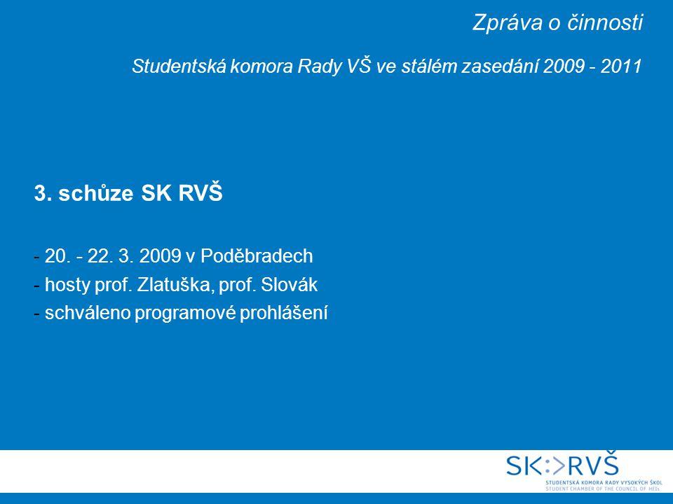 Zpráva o činnosti Studentská komora Rady VŠ ve stálém zasedání 2009 - 2011 3.