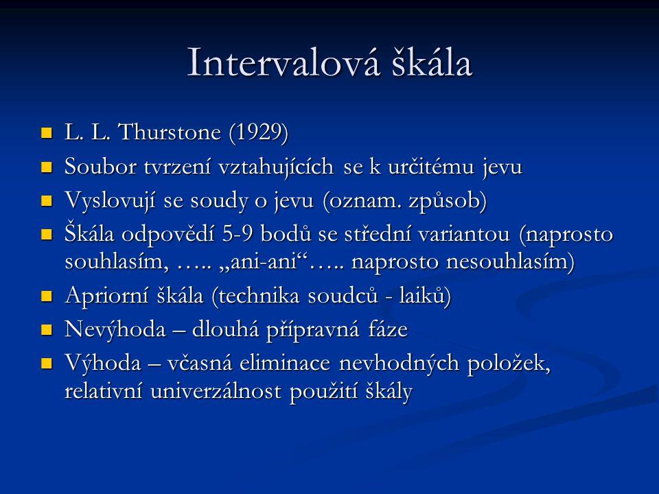 Intervalová škála L. L. Thurstone (1929) L. L. Thurstone (1929) Soubor tvrzení vztahujících se k určitému jevu Soubor tvrzení vztahujících se k určité