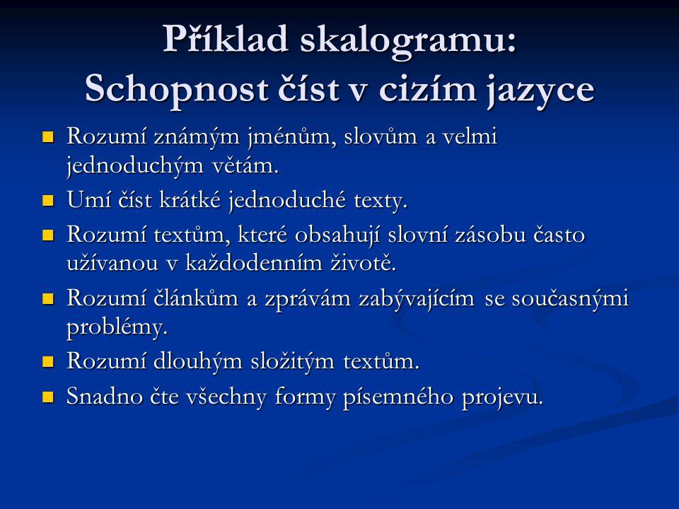 Příklad skalogramu: Schopnost číst v cizím jazyce Rozumí známým jménům, slovům a velmi jednoduchým větám. Rozumí známým jménům, slovům a velmi jednodu
