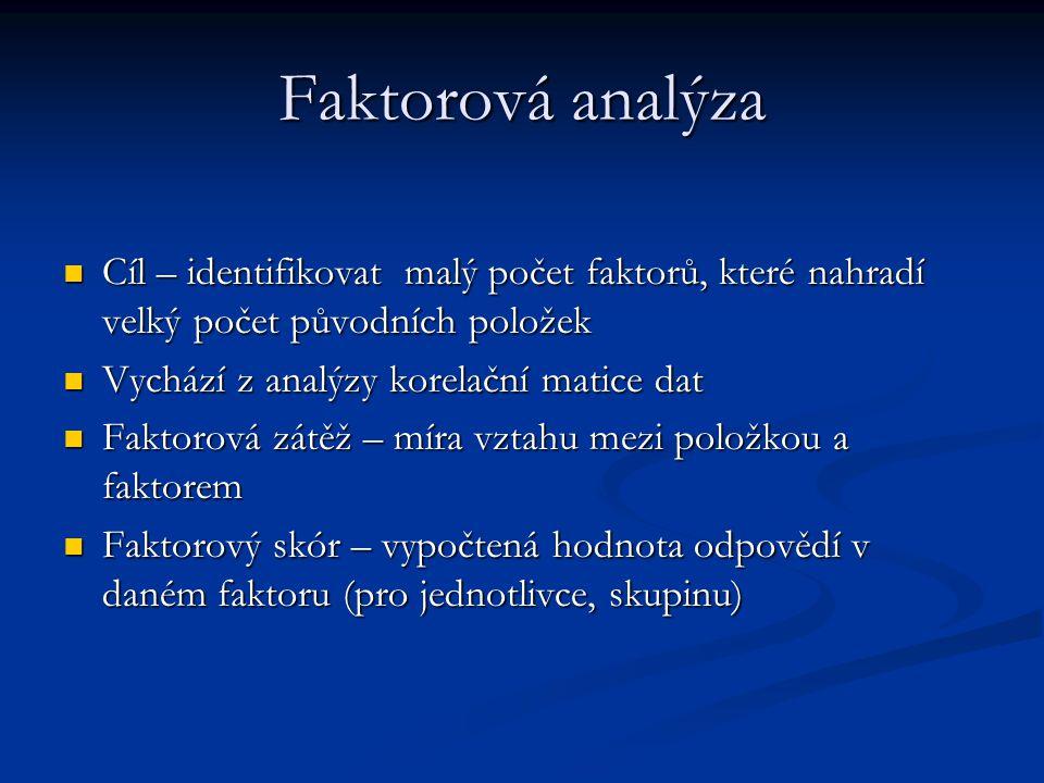 Faktorová analýza Cíl – identifikovat malý počet faktorů, které nahradí velký počet původních položek Cíl – identifikovat malý počet faktorů, které na