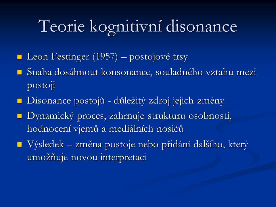 Teorie kognitivní disonance Leon Festinger (1957) – postojové trsy Leon Festinger (1957) – postojové trsy Snaha dosáhnout konsonance, souladného vztah