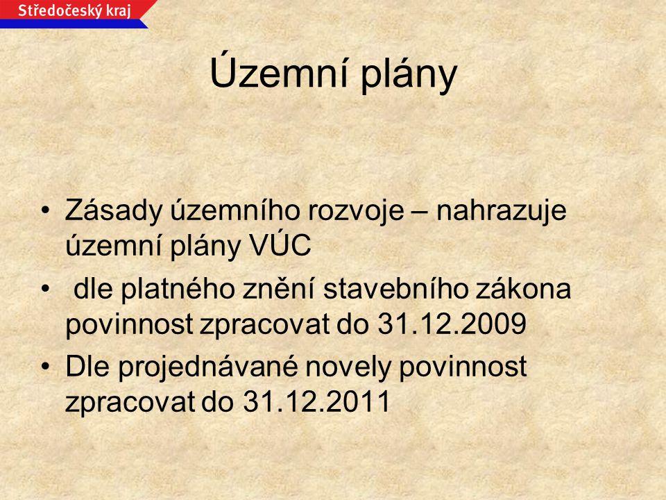 Územní plány Zásady územního rozvoje – nahrazuje územní plány VÚC dle platného znění stavebního zákona povinnost zpracovat do 31.12.2009 Dle projednáv