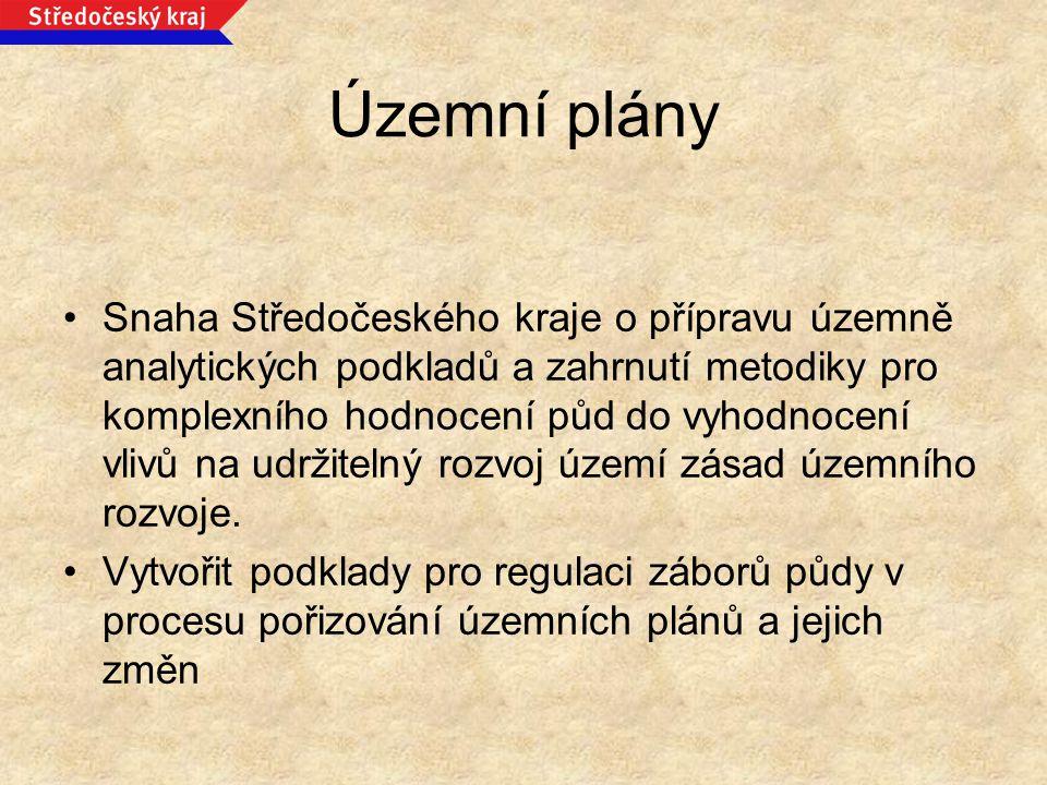 Územní plány Snaha Středočeského kraje o přípravu územně analytických podkladů a zahrnutí metodiky pro komplexního hodnocení půd do vyhodnocení vlivů