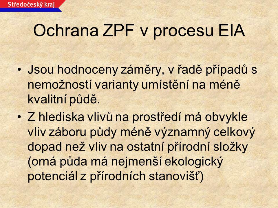 Ochrana ZPF v procesu EIA Jsou hodnoceny záměry, v řadě případů s nemožností varianty umístění na méně kvalitní půdě. Z hlediska vlivů na prostředí má