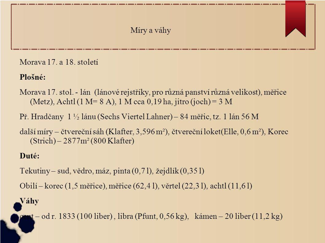 Míry a váhy Morava 17.a 18. století Plošné: Morava 17.