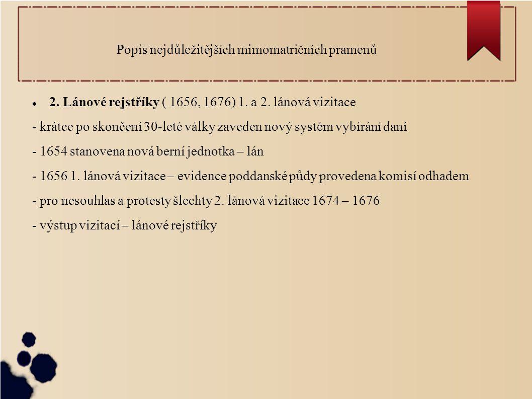 Popis nejdůležitějších mimomatričních pramenů 2.Lánové rejstříky ( 1656, 1676) 1.