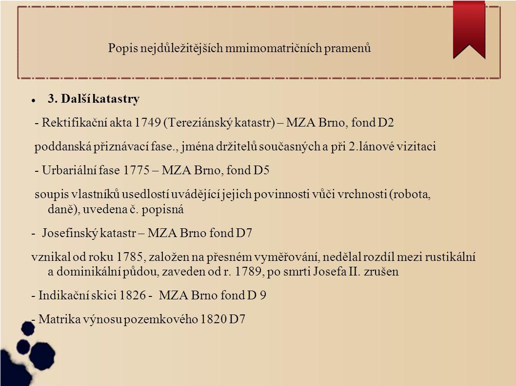 Popis nejdůležitějších mmimomatričních pramenů 3.