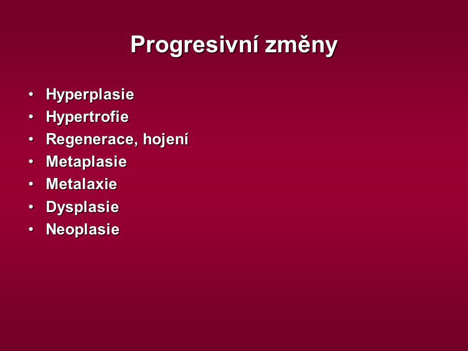 Progresivní změny HyperplasieHyperplasie HypertrofieHypertrofie Regenerace, hojeníRegenerace, hojení MetaplasieMetaplasie MetalaxieMetalaxie Dysplasie