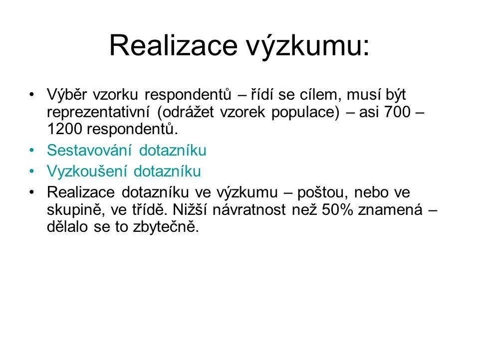 Realizace výzkumu: Výběr vzorku respondentů – řídí se cílem, musí být reprezentativní (odrážet vzorek populace) – asi 700 – 1200 respondentů. Sestavov
