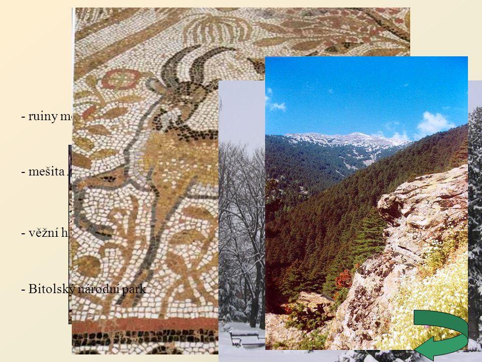 Битола (Bitola) - ruiny města Heraclea Lyncestis - věžní hodiny Saat Kula - mešita Ajdar-kadi - Bitolský národní park