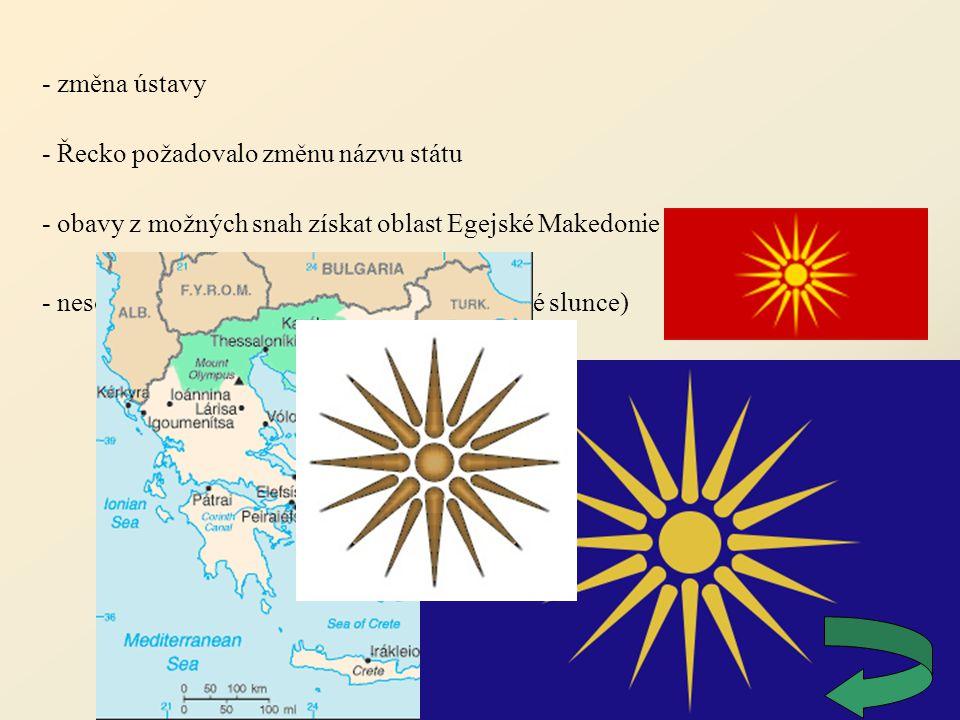- změna ústavy - Řecko požadovalo změnu názvu státu - obavy z možných snah získat oblast Egejské Makedonie - nesouhlas s makedonskou vlajkou (Verginské slunce)