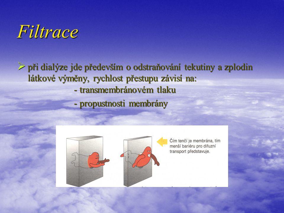 Filtrace  při dialýze jde především o odstraňování tekutiny a zplodin látkové výměny, rychlost přestupu závisí na: - transmembránovém tlaku - propustnosti membrány - propustnosti membrány