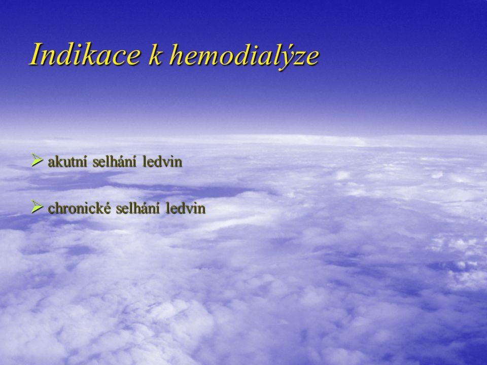 Indikace k hemodialýze  akutní selhání ledvin  chronické selhání ledvin