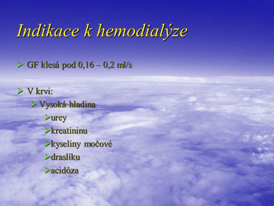 Indikace k hemodialýze  GF klesá pod 0,16 – 0,2 ml/s  V krvi:  Vysoká hladina  urey  kreatininu  kyseliny močové  draslíku  acidóza