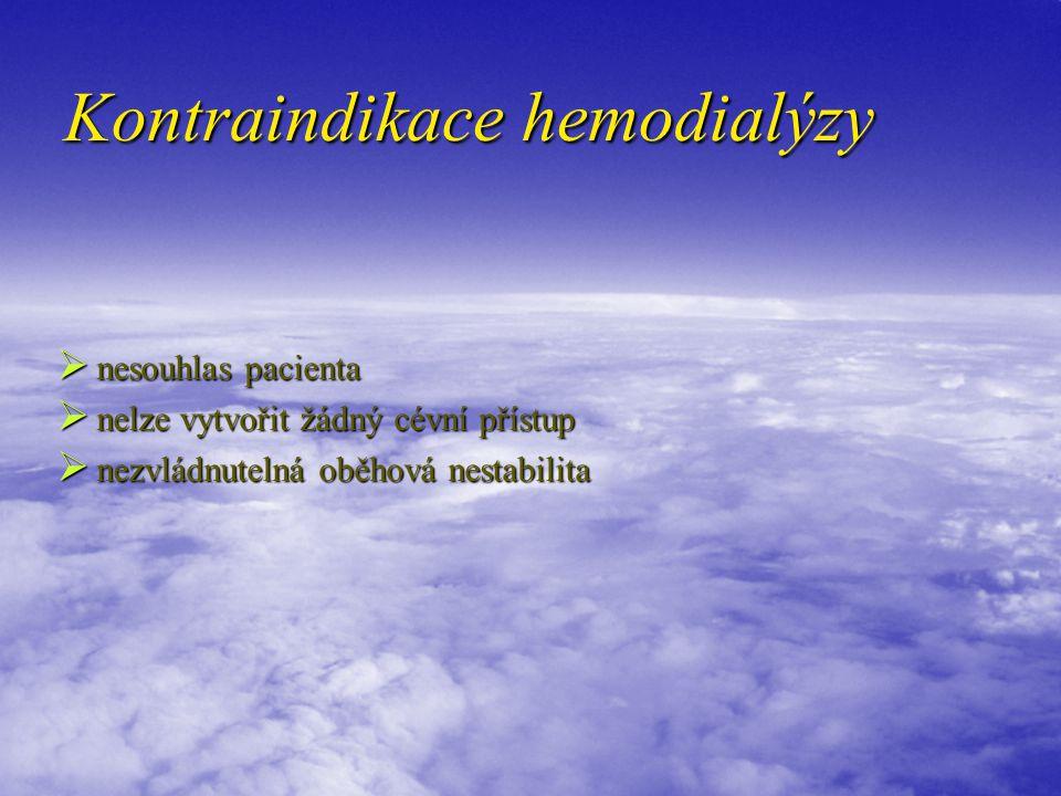 Kontraindikace hemodialýzy  nesouhlas pacienta  nelze vytvořit žádný cévní přístup  nezvládnutelná oběhová nestabilita