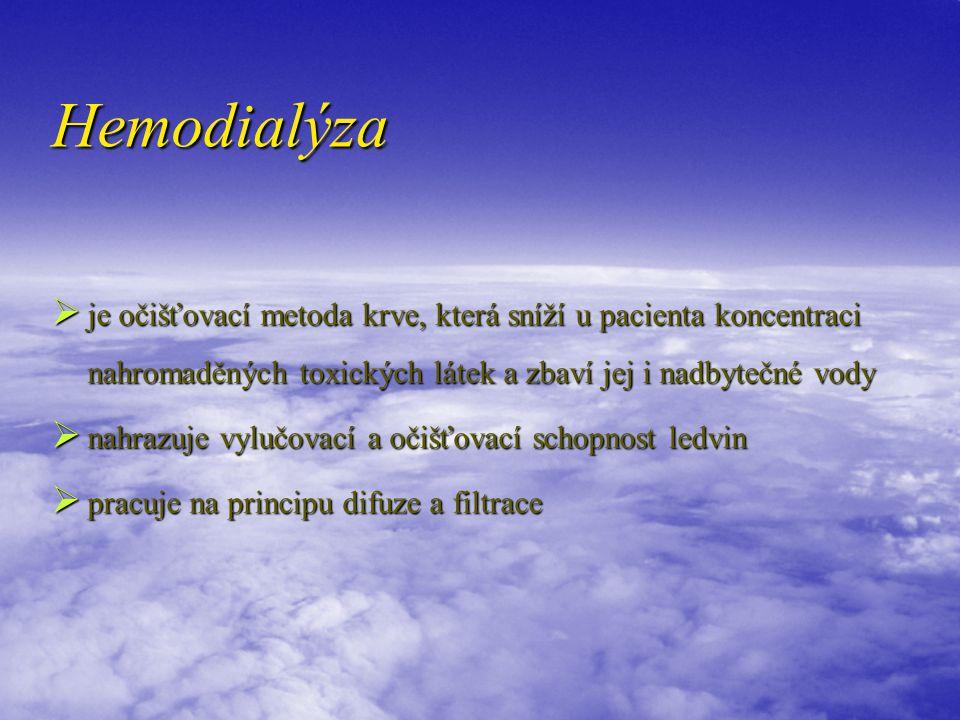 Hemodialýza  je očišťovací metoda krve, která sníží u pacienta koncentraci nahromaděných toxických látek a zbaví jej i nadbytečné vody  nahrazuje vy