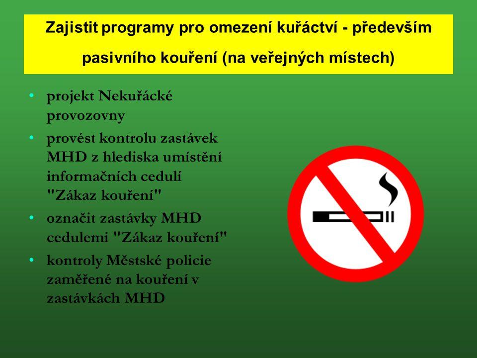 Zajistit programy pro omezení kuřáctví - především pasivního kouření (na veřejných místech) projekt Nekuřácké provozovny provést kontrolu zastávek MHD z hlediska umístění informačních cedulí Zákaz kouření označit zastávky MHD cedulemi Zákaz kouření kontroly Městské policie zaměřené na kouření v zastávkách MHD