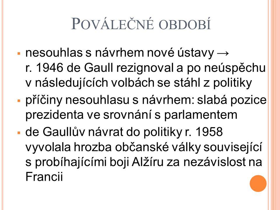 P OVÁLEČNÉ OBDOBÍ  nesouhlas s návrhem nové ústavy → r. 1946 de Gaull rezignoval a po neúspěchu v následujících volbách se stáhl z politiky  příčiny