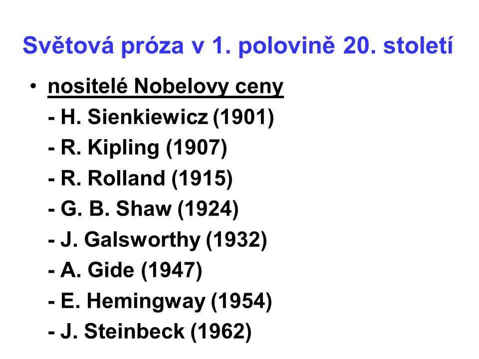 Světová próza v 1. polovině 20. století nositelé Nobelovy ceny - H. Sienkiewicz (1901) - R. Kipling (1907) - R. Rolland (1915) - G. B. Shaw (1924) - J