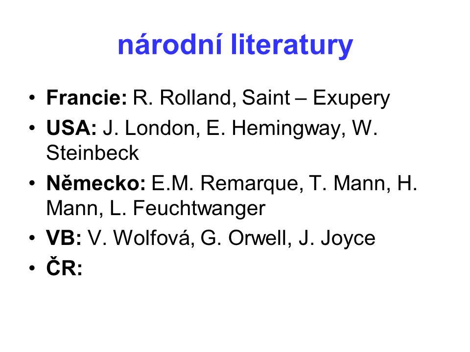 národní literatury Francie: R. Rolland, Saint – Exupery USA: J. London, E. Hemingway, W. Steinbeck Německo: E.M. Remarque, T. Mann, H. Mann, L. Feucht