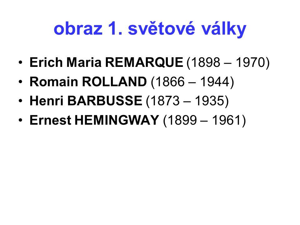 obraz 1. světové války Erich Maria REMARQUE (1898 – 1970) Romain ROLLAND (1866 – 1944) Henri BARBUSSE (1873 – 1935) Ernest HEMINGWAY (1899 – 1961)