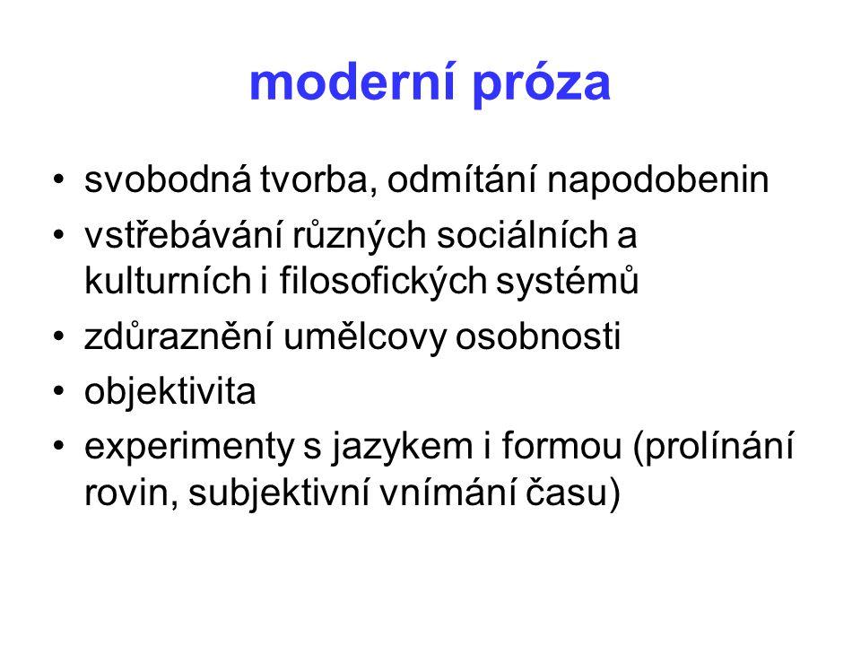 moderní próza svobodná tvorba, odmítání napodobenin vstřebávání různých sociálních a kulturních i filosofických systémů zdůraznění umělcovy osobnosti