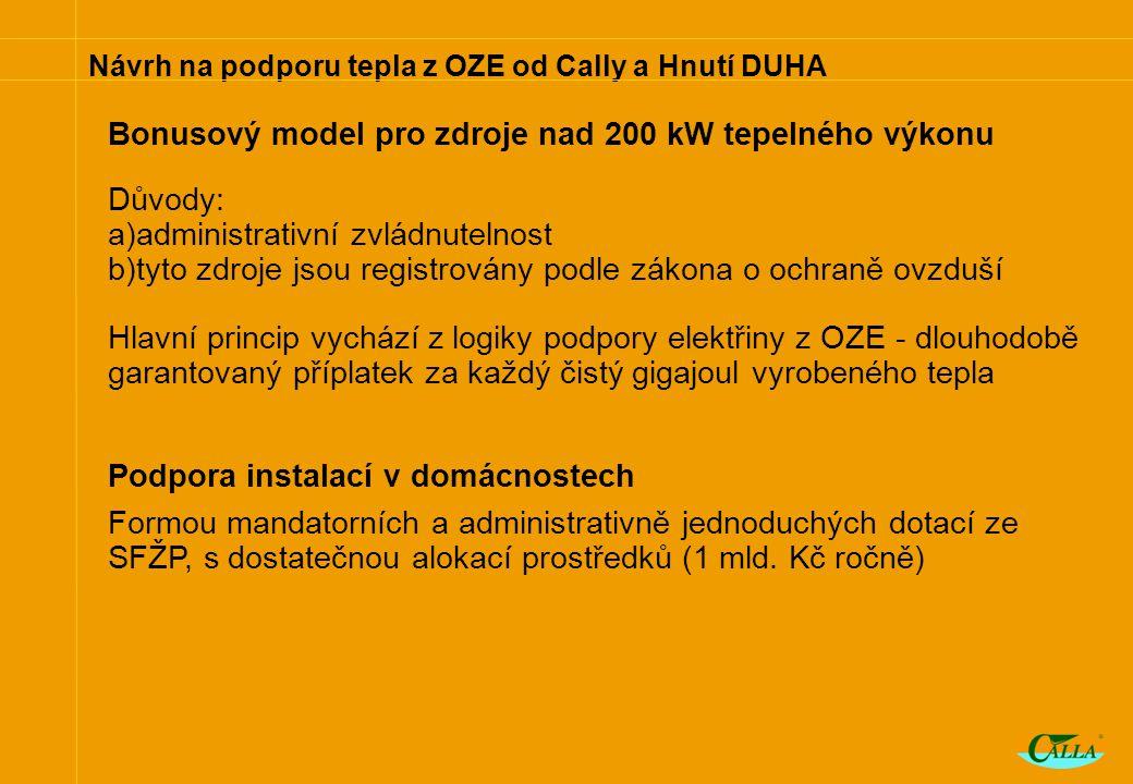 Návrh na podporu tepla z OZE od Cally a Hnutí DUHA Bonusový model pro zdroje nad 200 kW tepelného výkonu Důvody: a)administrativní zvládnutelnost b)tyto zdroje jsou registrovány podle zákona o ochraně ovzduší Hlavní princip vychází z logiky podpory elektřiny z OZE - dlouhodobě garantovaný příplatek za každý čistý gigajoul vyrobeného tepla Podpora instalací v domácnostech Formou mandatorních a administrativně jednoduchých dotací ze SFŽP, s dostatečnou alokací prostředků (1 mld.