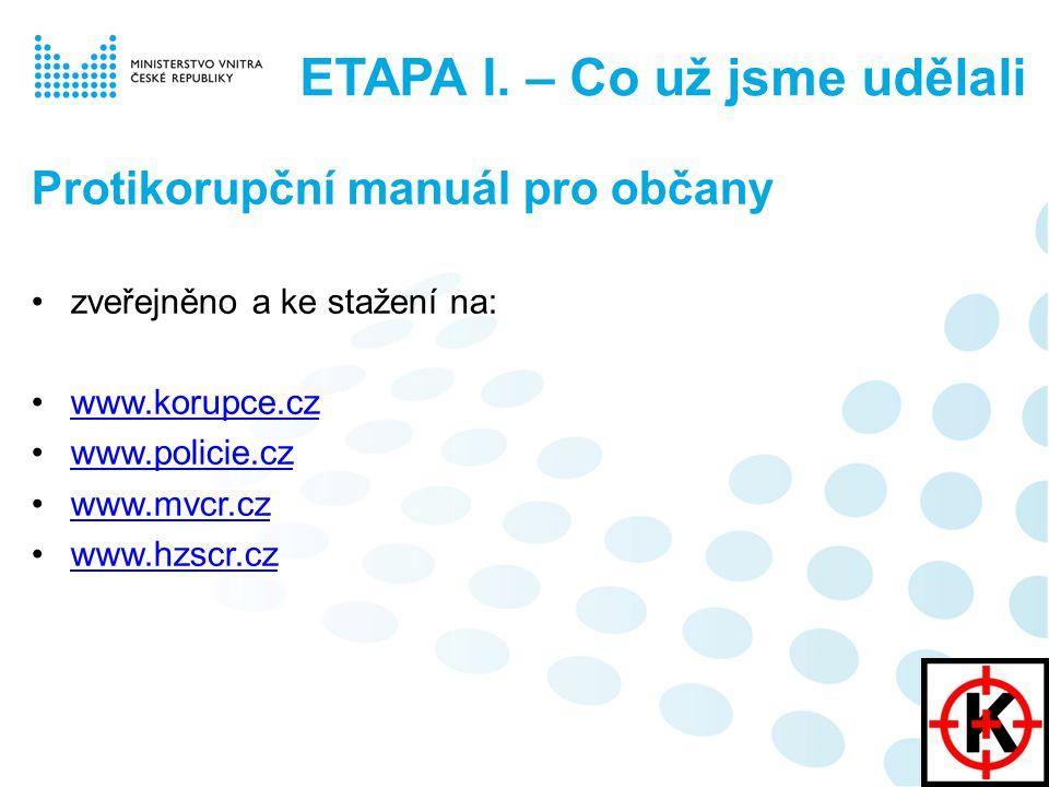Protikorupční manuál pro občany zveřejněno a ke stažení na: www.korupce.cz www.policie.cz www.mvcr.cz www.hzscr.cz ETAPA I.