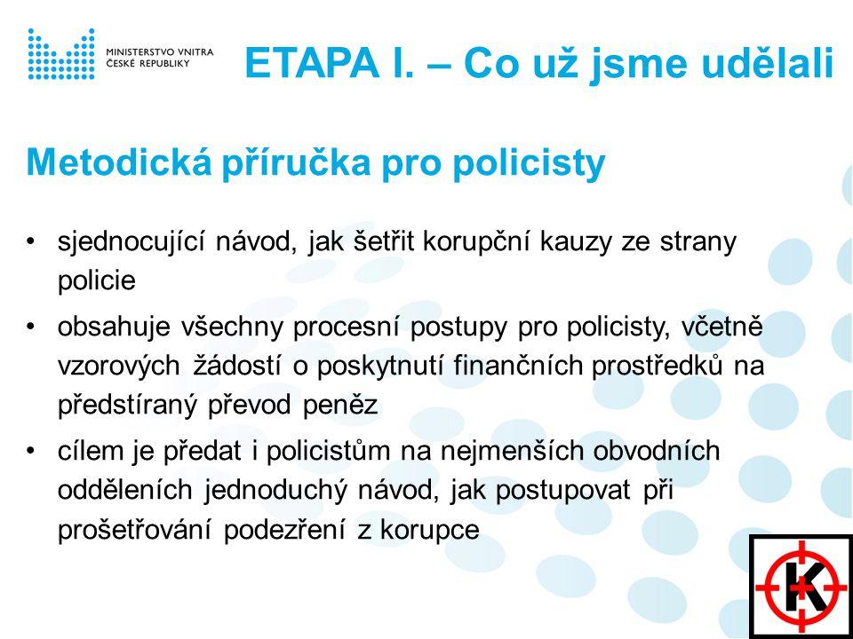 Metodická příručka pro policisty sjednocující návod, jak šetřit korupční kauzy ze strany policie obsahuje všechny procesní postupy pro policisty, včetně vzorových žádostí o poskytnutí finančních prostředků na předstíraný převod peněz cílem je předat i policistům na nejmenších obvodních odděleních jednoduchý návod, jak postupovat při prošetřování podezření z korupce ETAPA I.