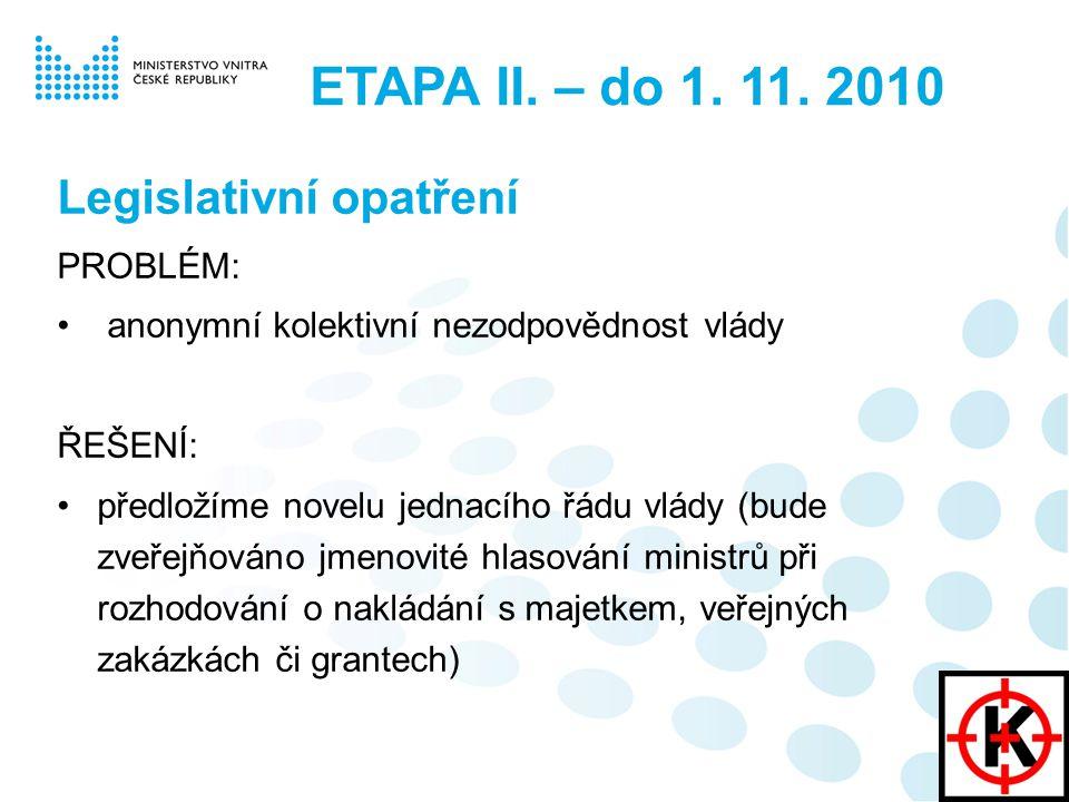 ETAPA II. – do 1. 11. 2010 Legislativní opatření PROBLÉM: anonymní kolektivní nezodpovědnost vlády ŘEŠENÍ: předložíme novelu jednacího řádu vlády (bud