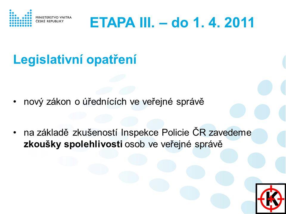 Legislativní opatření nový zákon o úřednících ve veřejné správě na základě zkušeností Inspekce Policie ČR zavedeme zkoušky spolehlivosti osob ve veřejné správě ETAPA III.