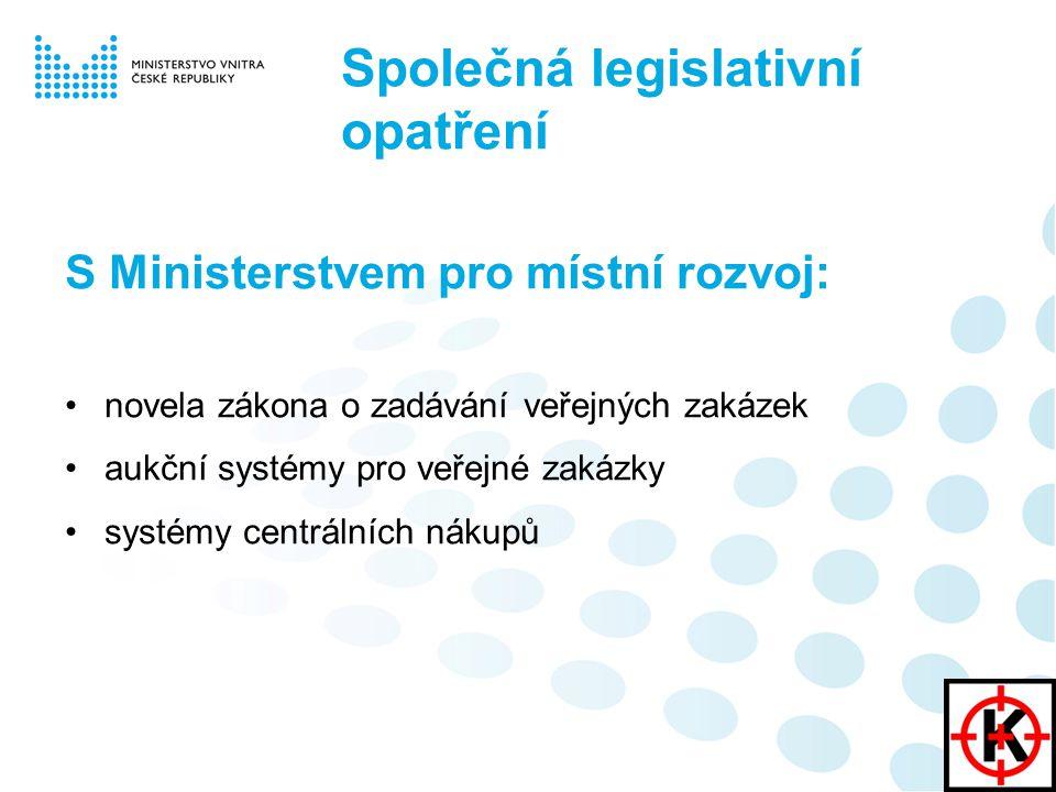S Ministerstvem pro místní rozvoj: novela zákona o zadávání veřejných zakázek aukční systémy pro veřejné zakázky systémy centrálních nákupů Společná legislativní opatření