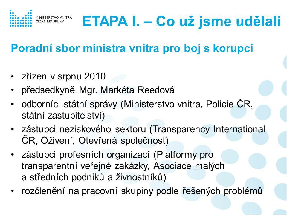 Další opatření nařízení policejnímu prezidentovi - vydat pokyn, aby veškeré případné politické tlaky na šetření jakýchkoliv případů okamžitě hlásil ministrovi vnitra pokyn ke snížení počtu policistů na policejním prezidiu o 1/3 (snížení nákladů) ušetřené prostředky = zdvojnásobení odměn za úspěšně vyšetřené korupční případy pro: - Útvar pro odhalování korupce a finanční kriminality - krajská policejní ředitelství ETAPA I.