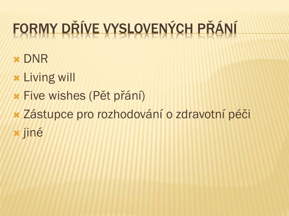  DNR  Living will  Five wishes (Pět přání)  Zástupce pro rozhodování o zdravotní péči  jiné