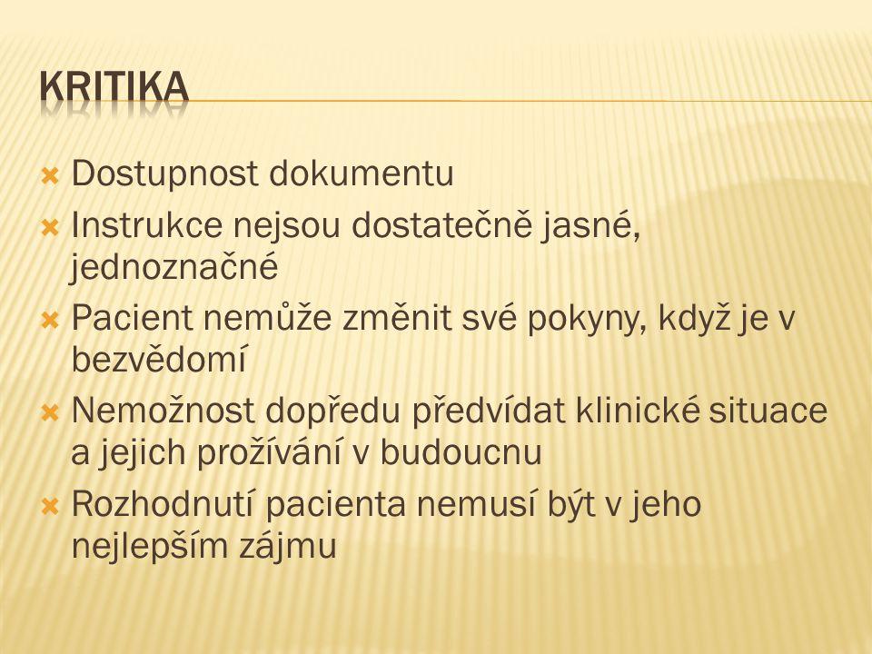  Dostupnost dokumentu  Instrukce nejsou dostatečně jasné, jednoznačné  Pacient nemůže změnit své pokyny, když je v bezvědomí  Nemožnost dopředu př