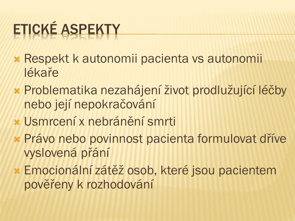  Respekt k autonomii pacienta vs autonomii lékaře  Problematika nezahájení život prodlužující léčby nebo její nepokračování  Usmrcení x nebránění s