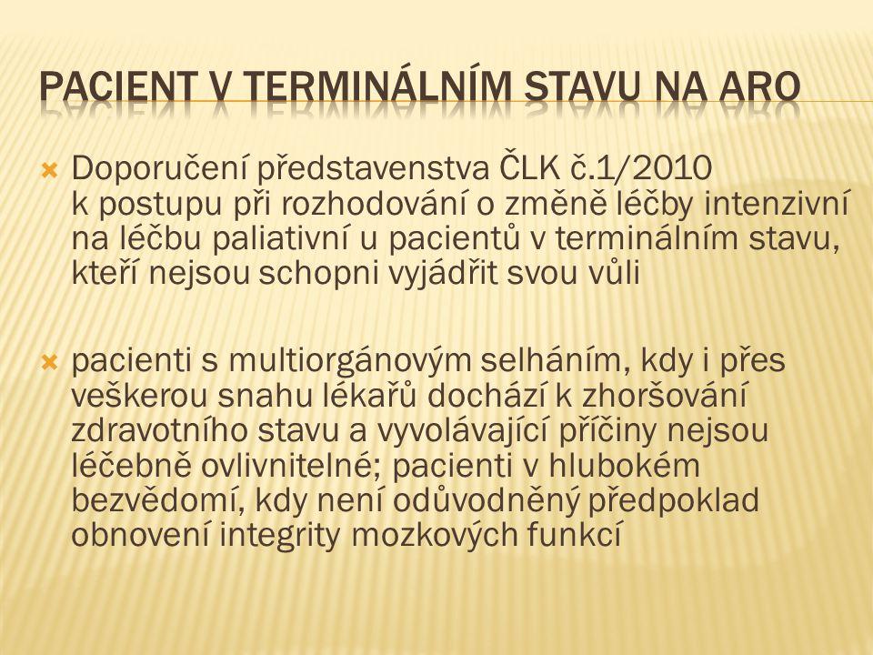  Doporučení představenstva ČLK č.1/2010 k postupu při rozhodování o změně léčby intenzivní na léčbu paliativní u pacientů v terminálním stavu, kteří