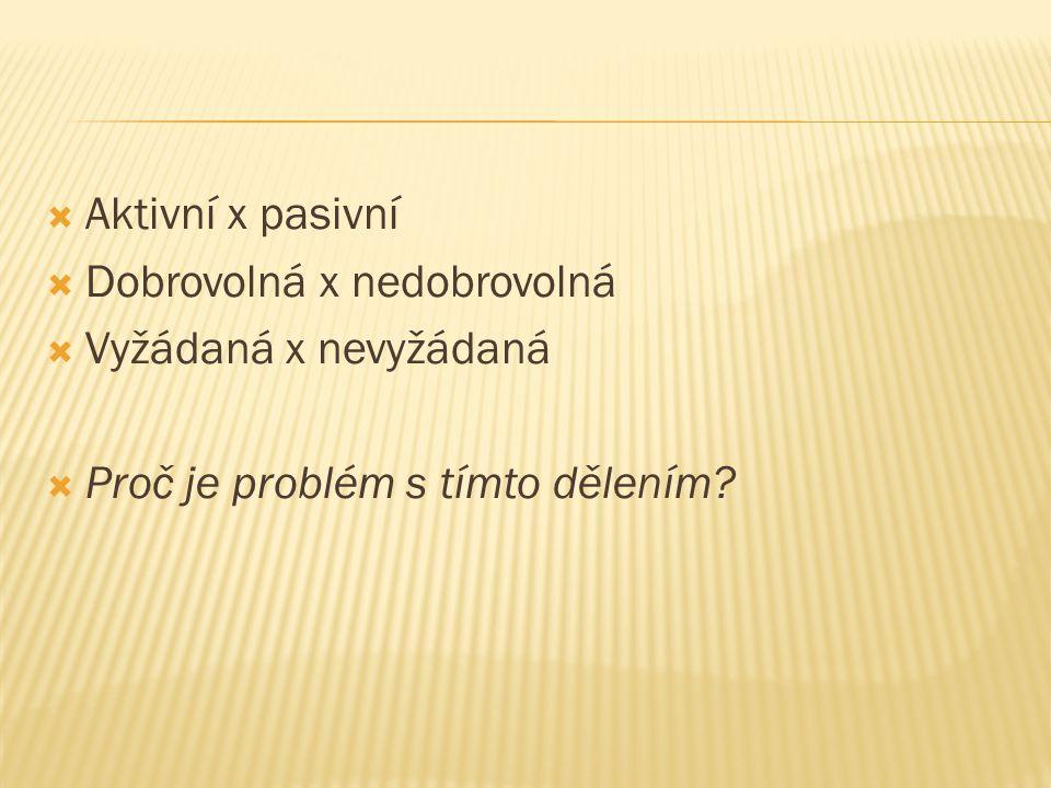  Aktivní x pasivní  Dobrovolná x nedobrovolná  Vyžádaná x nevyžádaná  Proč je problém s tímto dělením?