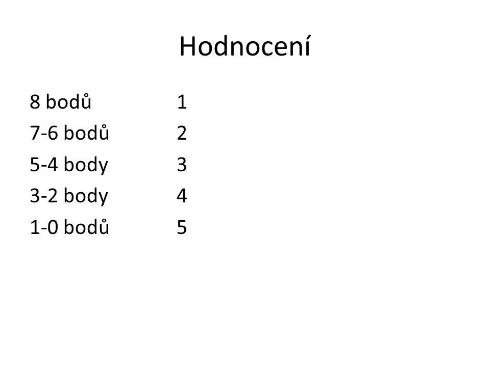Hodnocení 8 bodů1 7-6 bodů2 5-4 body3 3-2 body4 1-0 bodů5